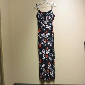 MNG One-Piece Navy Blue Floral Jump Suit Size XS